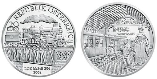 """Austrian Railways Fourth Silver Commemorative, """" Empress Elisabeth West Railway"""""""