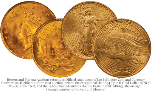 1854 Type II Gold Dollar and 1920-S Saint-Gaudens Double Eagle coins