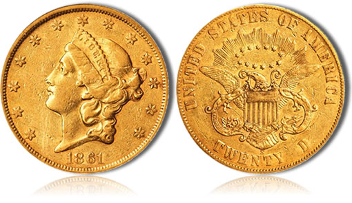 1861-S Liberty Double Eagle Gold Coin