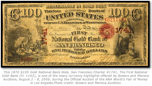 1870 $100 National Gold Note