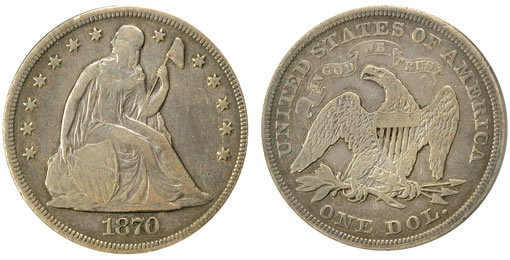 For the 1870-S Seated Liberty Silver Dollar, only nine specimens have been auctioned to date and just three more are rumored to exist