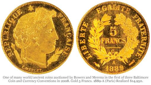 Gold 5 Francs. 1889-A (Paris)