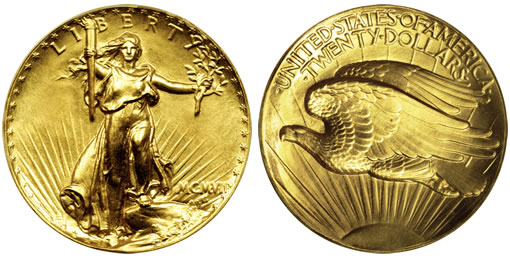 1907 $20 Ultra High Relief Saint-Gaudens Double Eagle Gold Coin