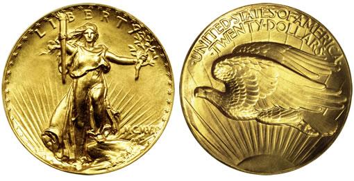 1907 $20 Ultra High Relief Saint-Gaudens Double Eagle Gold Coin