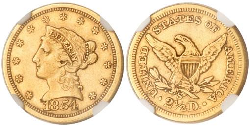 1854-S quarter eagle
