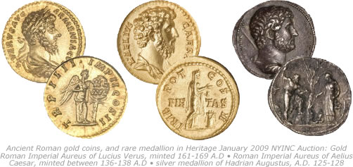 Ancient Roman gold coins and rare medallion