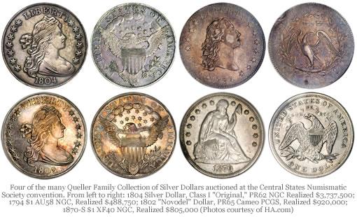 Four Queller Family Silver Dollars