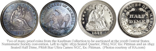 Two proof dimes from the Kaufman Collection
