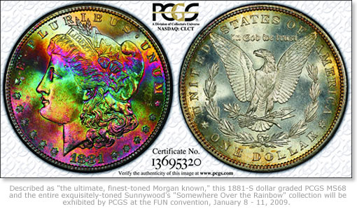 1881-S dollar Morgan graded PCGS MS68