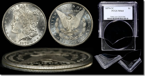 Counterfeited Morgan Dollar and Tampered PCGS Holder