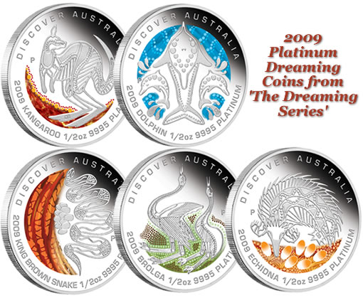 2009 Australian Platinum Dreaming Coins from 'The Dreaming Series'