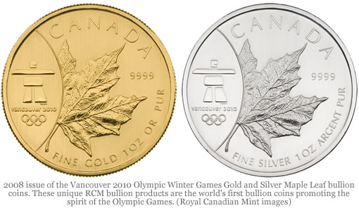 2008 Gold and Silver Maple Leaf bullion coins (reverses)