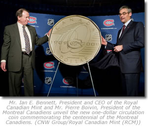 2009 Montreal Canadiens Centennial one-dollar coin launch