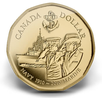 2010 Canadian Navy Centennial $1 Circulation Coin