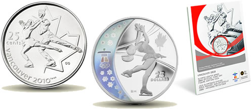 Royal Canadian Mint Vancouver 2010 commemorative figure skating coins