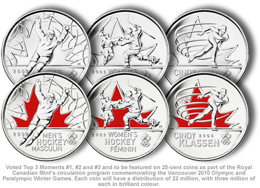 Top 3 Moments Featured on 25 cent Olympic coins