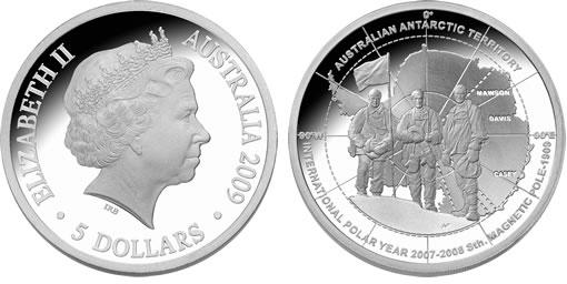 2009 Australian $5 Silver Proof Antarctic Explorer Coin
