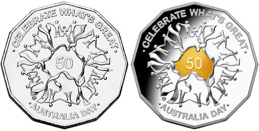 Australian Day 2010 coins: 50 cent circulating coin and collectible gold-plated coin