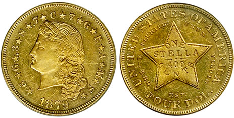 $4 Gold Stella 1879 Proof Flowing Hair PCGS PR-62