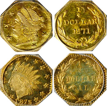 "Two coins from the ""The Kovach Collection of Period One & Two California Fractional Gold"""