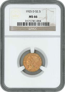 1925-D Indian Head $2.50 gold coin