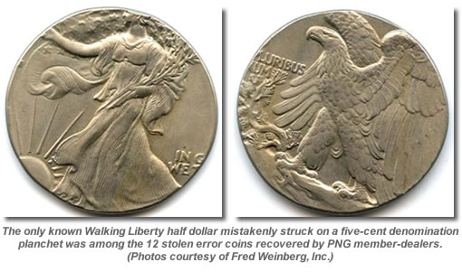 Walking Liberty half dollar on five-cent planchet