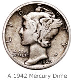1942 Mercury Dime