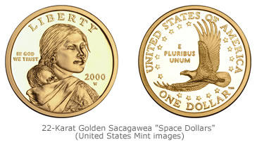 22 Karat Golden Sacagawea Space Dollars