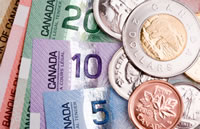 Canadian currency and coins standing out from the crowd