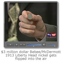 $3 Million dollar Bebee/McDermott specimen 1913 Liberty Head nickel gets flipped into the air