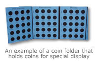 An example of a coin folder that holds coins for special display