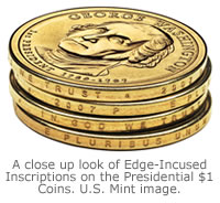 A close up look of Edge-Incused Inscriptions on the Presidential $1 Coins.