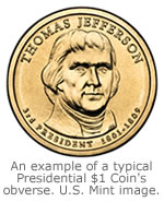 An example of a typical Presidential $1 Coin Obverse