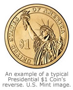 An example of a typical Presidential $1 Coin Reverse