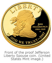 Front of the proof Jefferson Liberty Spouse coin. (United States Mint image.)