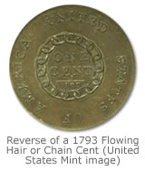 Reverse of a 1793 Flowing Hair or Chain Cent