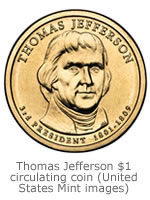 The obverse of the Thomas Jefferson Presidential Circulating $1 Dollar