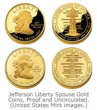 Jefferson Liberty Spouse Gold Coins, Proof and Uncirculated versions. (United States Mint images.)