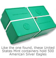 A United States Mint Container that holds 500 American Silver Eagles