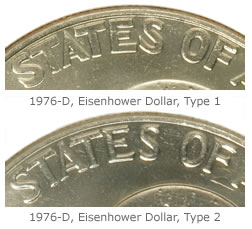 Notice the difference between the two variety types of the Bicentennial Eisenhower Dollars