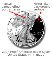 2007 Proof American Eagle Silver with background and foreground descriptions