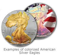Examples of colorized American Silver Eagles