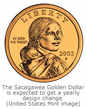If the president signs the new amendment, the Sacagawea Golden Dollar will receive, among other things, a yearly design change.