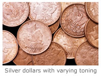 Silver dollars at varying levels of toning