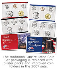 The traditional Uncirculated Coin Set packaging is replaced with blister packs and improved coin folders in the 2007 sets.