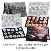The new 2007 Uncirculated Coin Set packaging and extra coins.