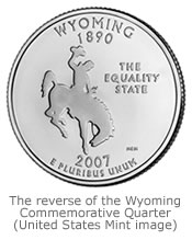 The reverse image of the Wyoming Commemorative State Quarter (Image courtesy of U.S. Mint)