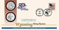The Wyoming Official First Day Coin Cover is available now from the United States Mint. 35,000 are available for sale.