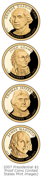 Presidential $1 Proof Coins for 2007