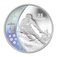 The 25 Dollar Sterling Silver Hologram Series Alpine Skiing (Reverse) from the Royal Canadian Mint